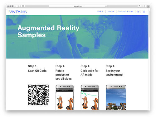 Augmented Reality Samples of Products using VNTANA Platform